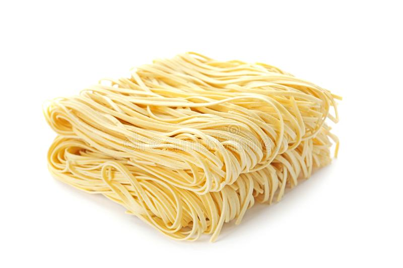 Blocks of quick cooking noodles isolated. On white royalty free stock image