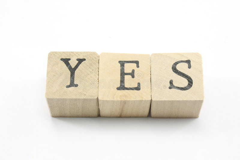 Blocks spell Yes. royalty free stock images