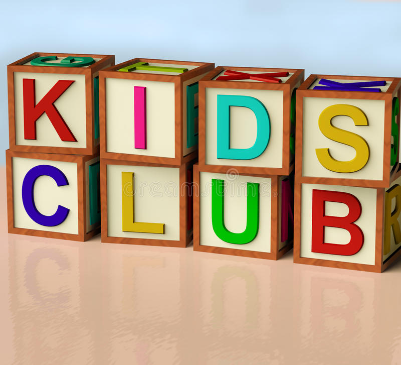 Blocks Spelling Kids Club. Wooden Blocks Spelling Kids Club As Symbol for Childrens Fun vector illustration