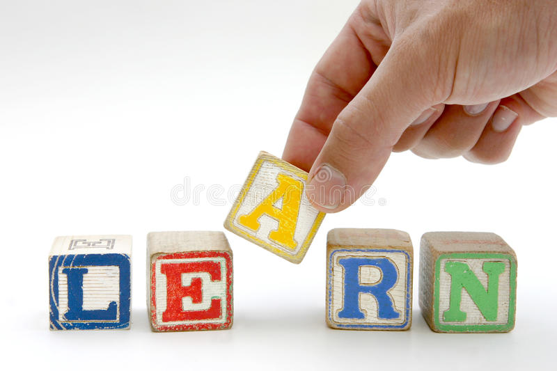 Blocks spelling 'learn' royalty free stock images