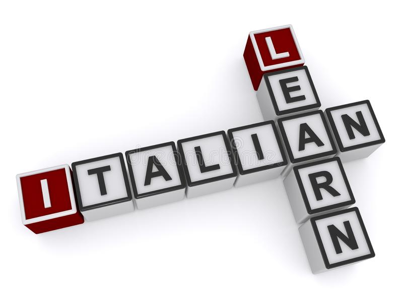 Blocks Spelling Learn Italian. Isolated on white royalty free illustration