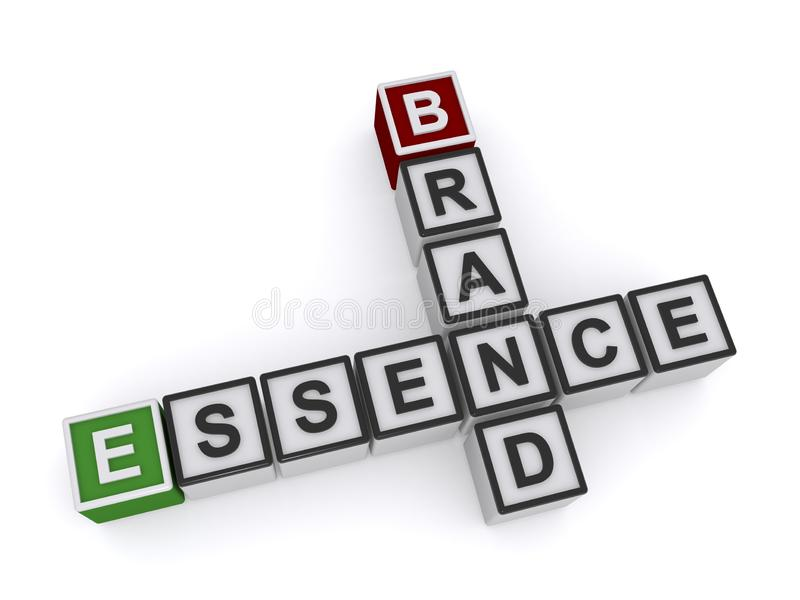 Blocks Spelling Out Brand Essence. Isolated on white vector illustration