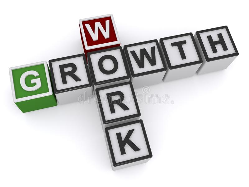 Blocks Spelling Work And Growth. Blocks spelling work and growth, isolated on white royalty free illustration