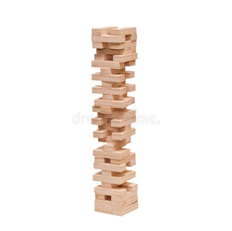 Blocks wooden puzzle game jenga on white background royalty free stock images