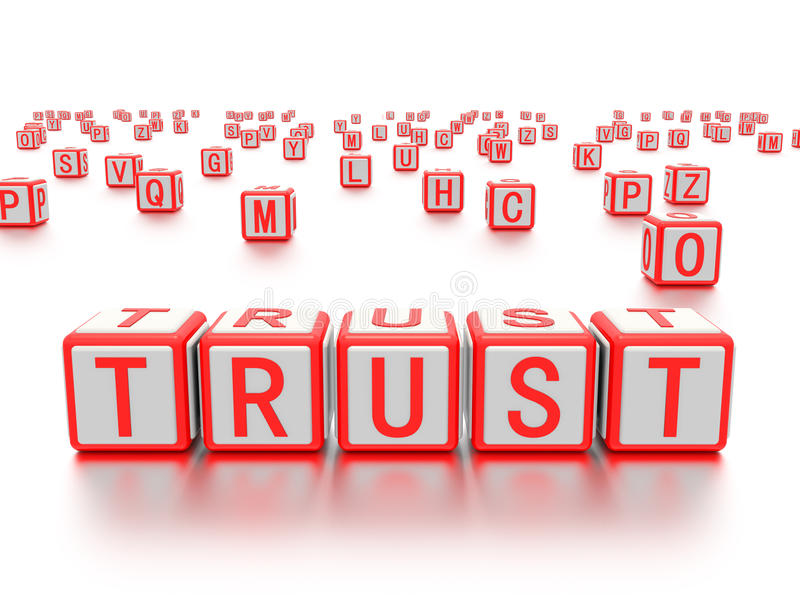 Blocks with the word trust written on it. A concept graphic depicting blocks with the word trust written on them. Rendered against a white background with a vector illustration