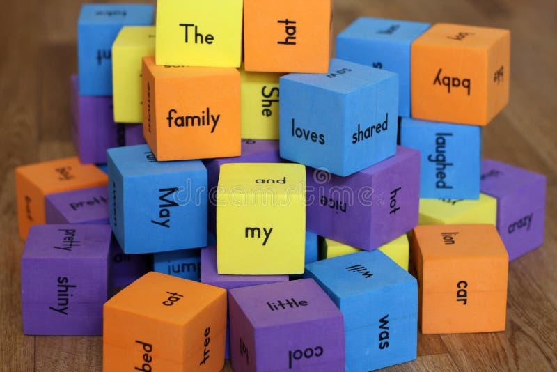 Blocks with words stock photos