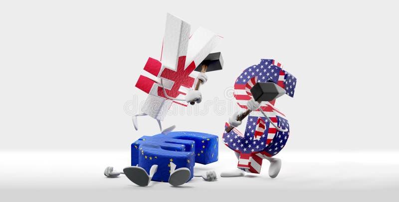 blockskiva för pengar för begreppsdollarfingrar fallande valuta och slåss för euro yen och dollaren 3D-Illustration royaltyfri illustrationer