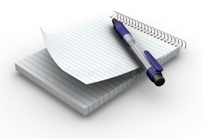 Blocnote en pen royalty-vrije illustratie