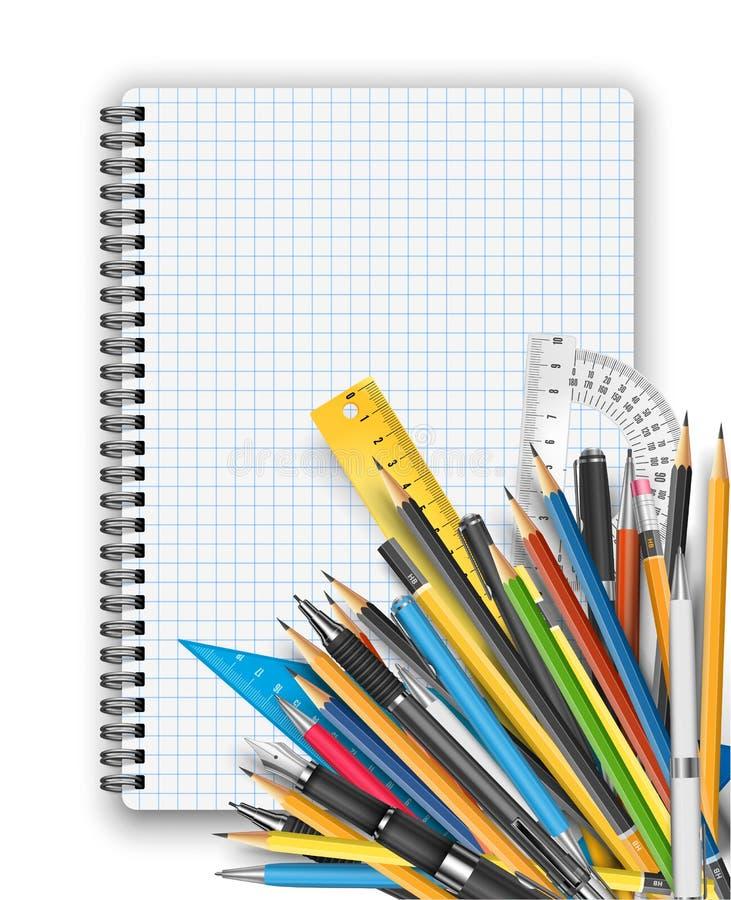 Blocnote en pennen stock illustratie