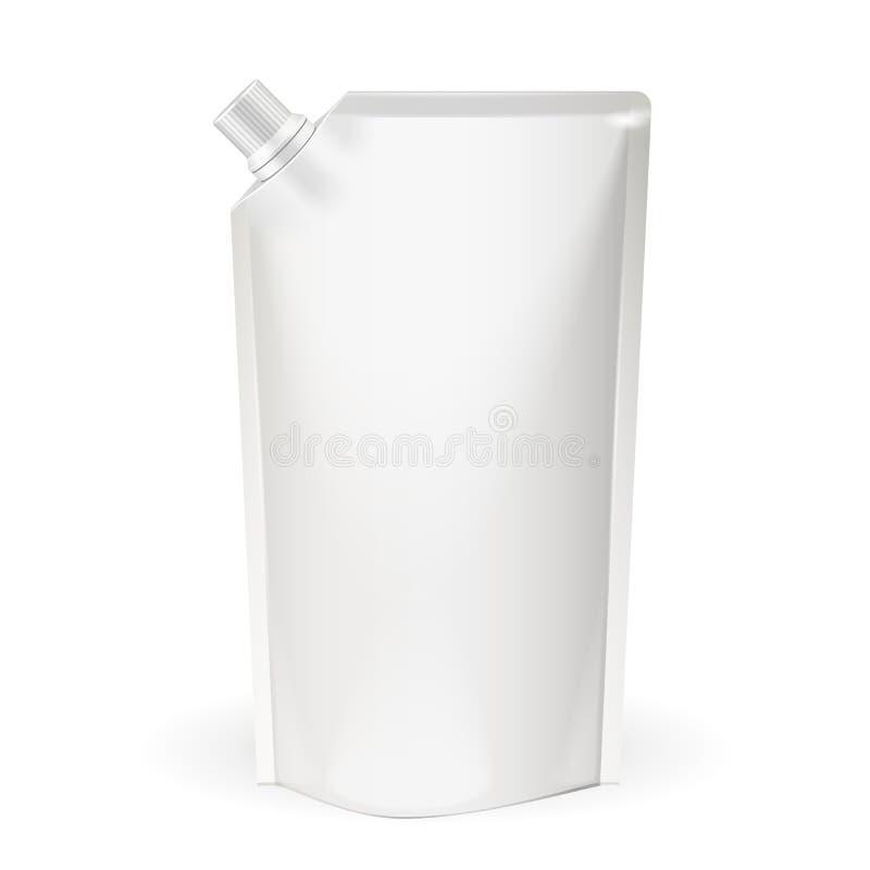 Bloco, alimento da folha ou saco vazio branco da bebida empacotando com tampa do bico Molde do bloco plástico Vetor eps10 ilustração do vetor