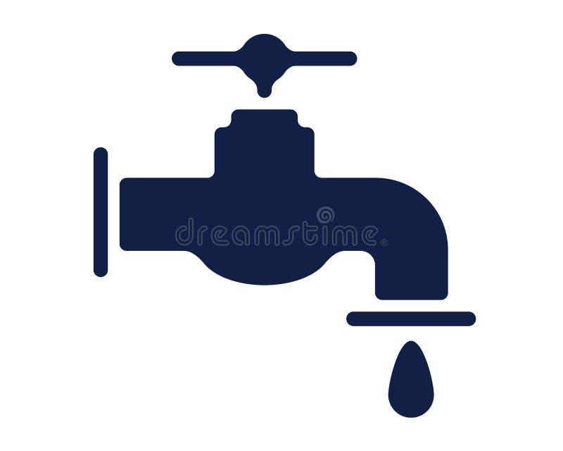 Bloco bonito fresco do ícone do glyph do ícone da torneira de água ilustração stock
