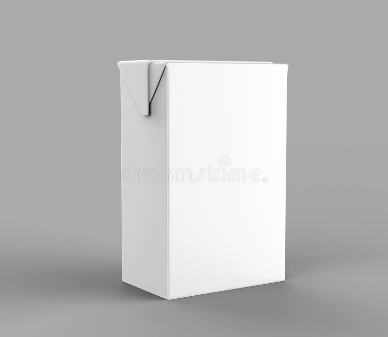 Bloco branco vazio do suco & do leite da caixa do pacote com rendição realística branca da palha para a zombaria acima do projeto ilustração do vetor