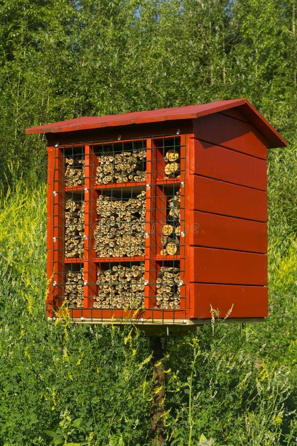 Bloco caseiro do ninho para abelhas de pedreiro para a polinização das plantas fotografia de stock royalty free