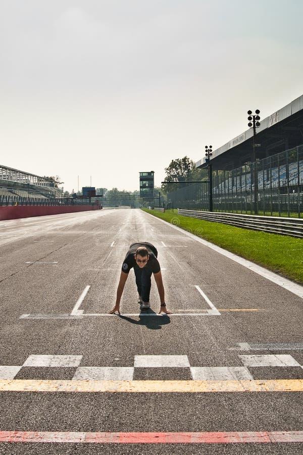Bloco começar no autódromo de Monza fotografia de stock royalty free