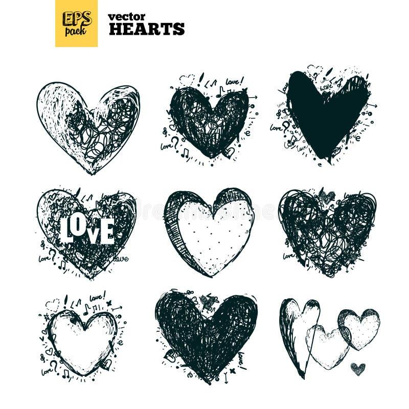 Bloco da coleção dos corações imagens de stock