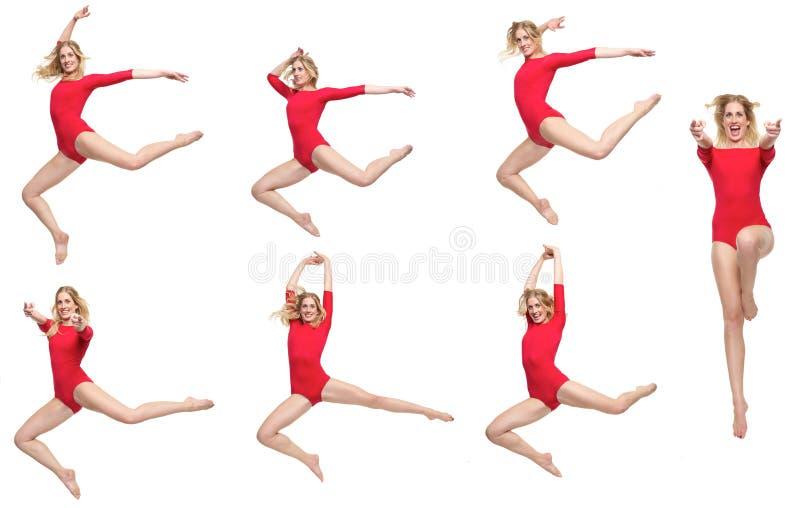 Bloco da dança da menina loura bonita isolada imagem de stock royalty free