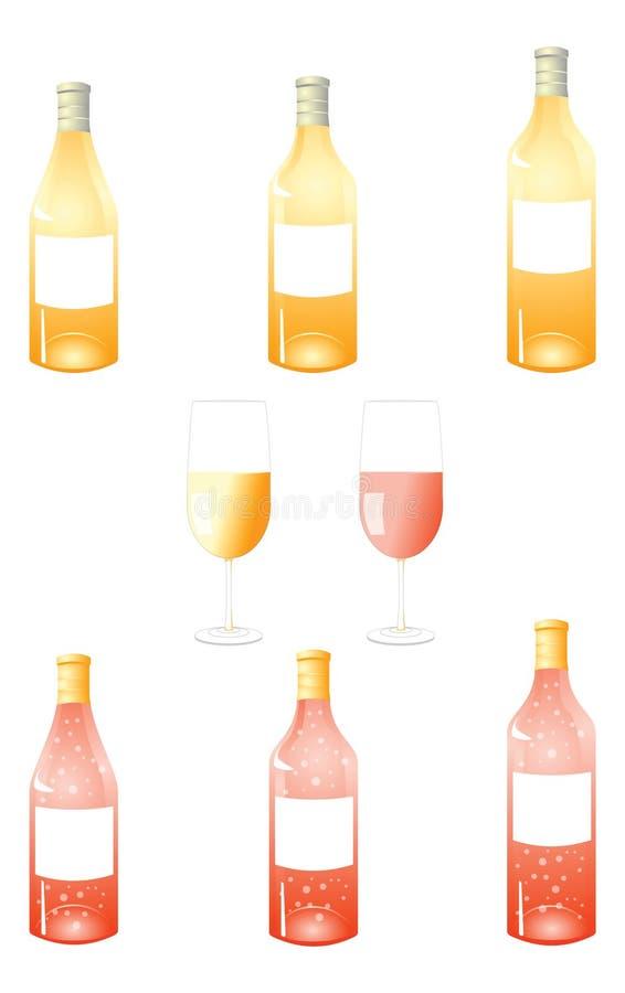 Bloco das garrafas de vinho branco fotos de stock