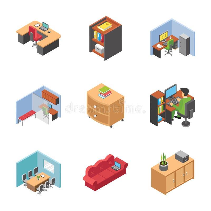 Bloco de ícones da área do escritório ilustração stock