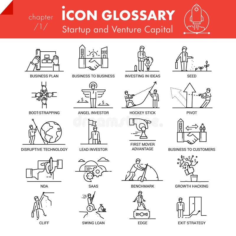 Bloco de alta qualidade dos ícones do esboço do capital startup do negócio e de risco ilustração stock