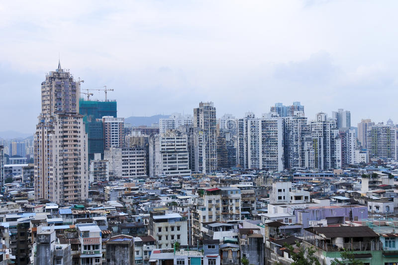 Bloco de apartamentos velho - Macau, China fotos de stock royalty free