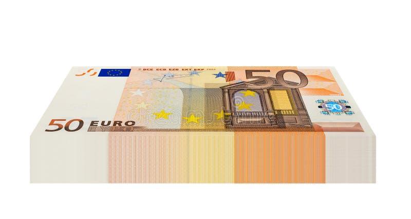 Bloco de 50 cédulas do Euro imagens de stock royalty free