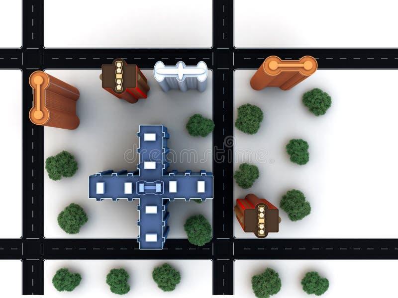 Bloco de cidade com estradas das construções ilustração do vetor