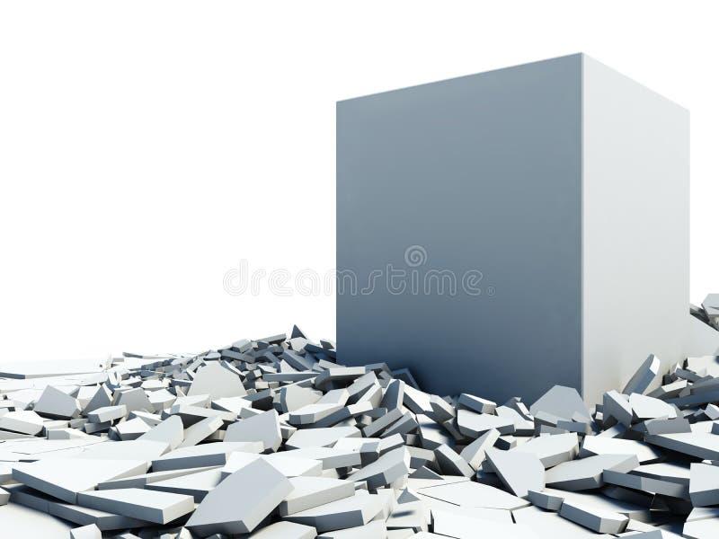 Bloco de cimento da ilustração que quebra completamente do assoalho ilustração royalty free