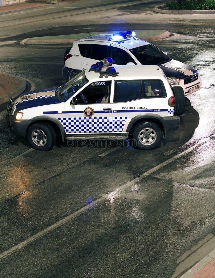 Bloco de estrada espanhol da polícia imagens de stock