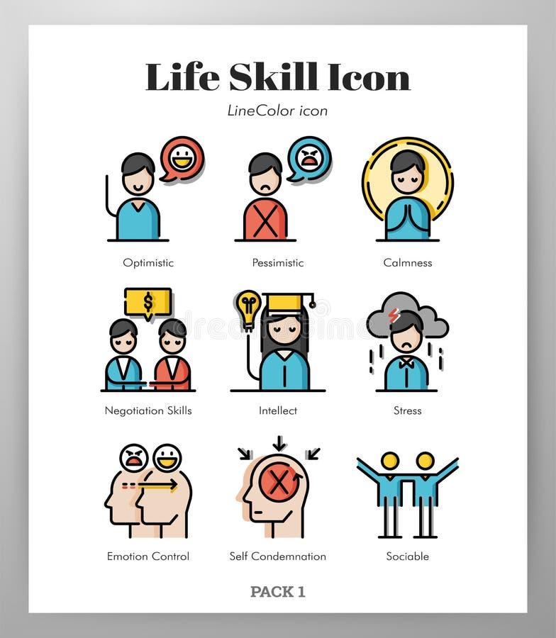 Bloco de LineColor dos ícones da habilidade da vida ilustração royalty free