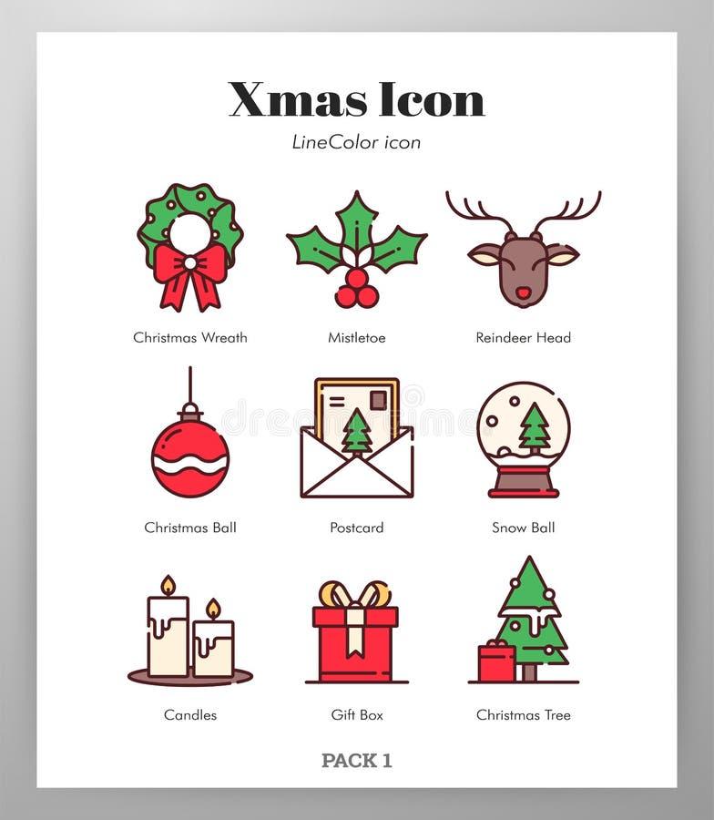 Bloco de LineColor dos ?cones do Natal ilustração royalty free