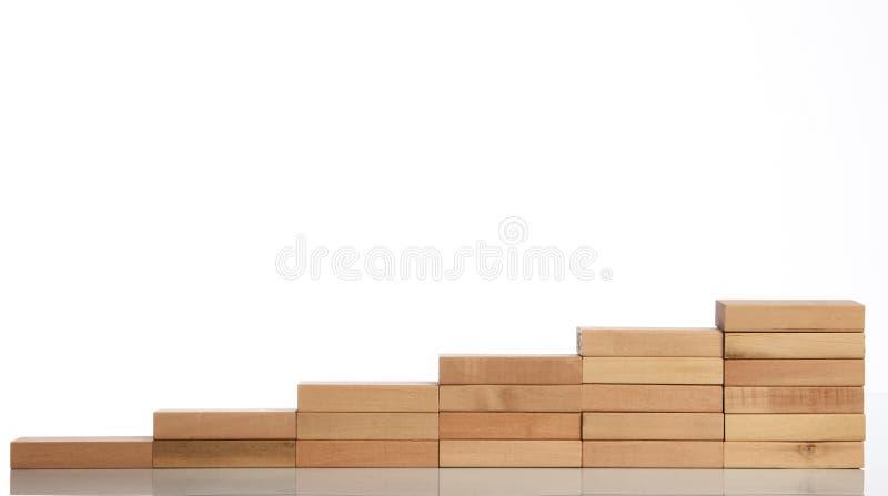 Bloco de madeira que empilha como a escada da etapa foto de stock