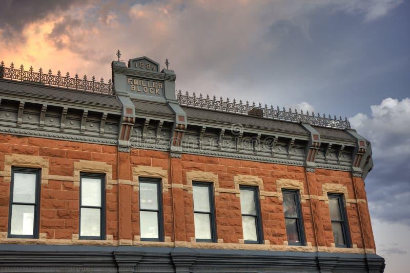Bloco de Miller na cidade velha histórica da coluna do forte fotografia de stock royalty free