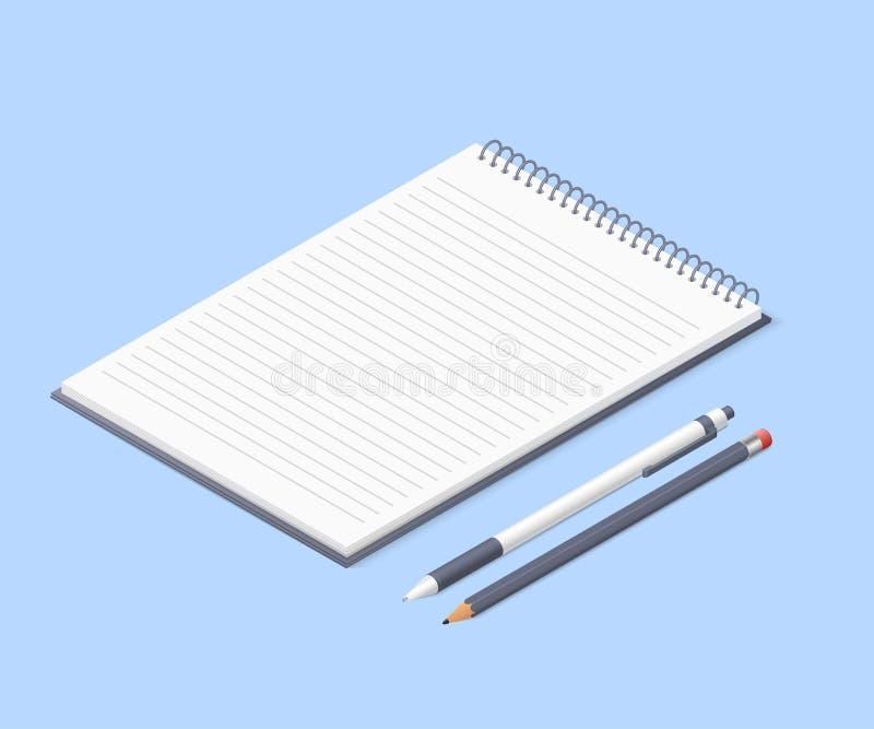 Bloco de notas aberto com lápis e pena Bloco de desenho ou diário Ilustração isométrica do vetor ilustração stock