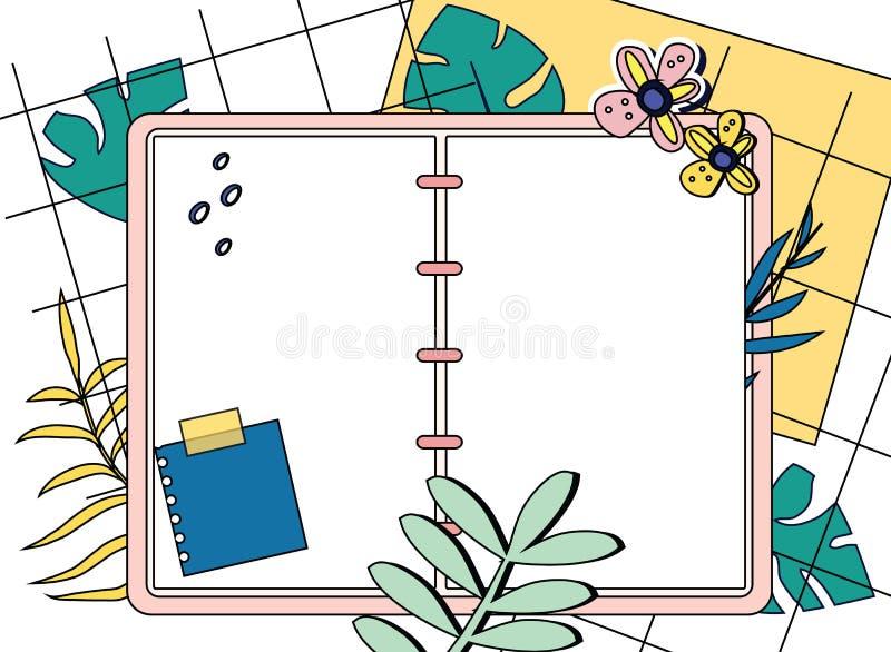 Bloco de notas aberto e opinião superior das folhas tropicais Ilustração moderna na moda do estilo do bloco de desenho vazio, diá ilustração royalty free