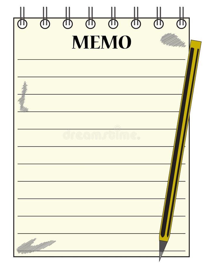 Bloco de notas alinhado do memorando com lápis fotografia de stock