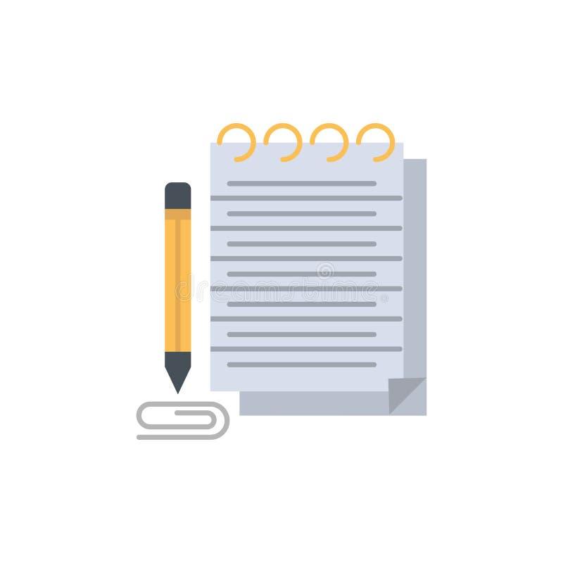 Bloco de notas, caderno, almofada, ícone liso novo da cor Molde da bandeira do ícone do vetor ilustração stock