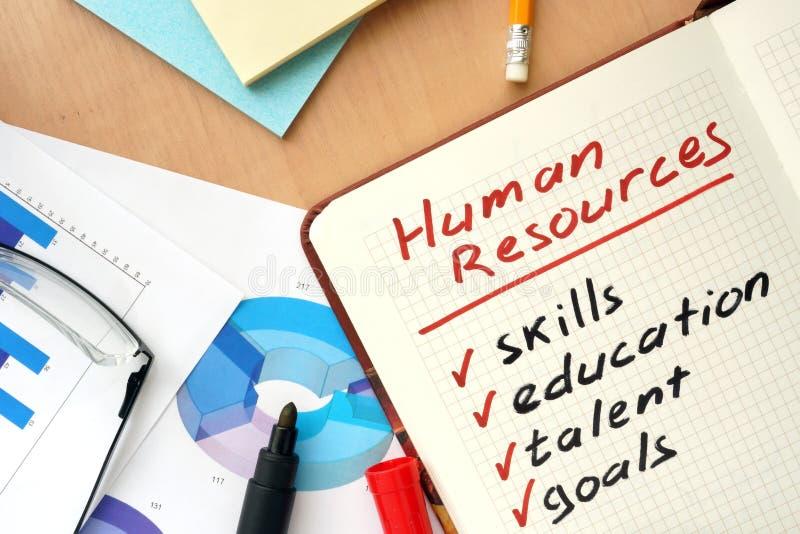 Bloco de notas com conceito dos recursos humanos das palavras imagens de stock