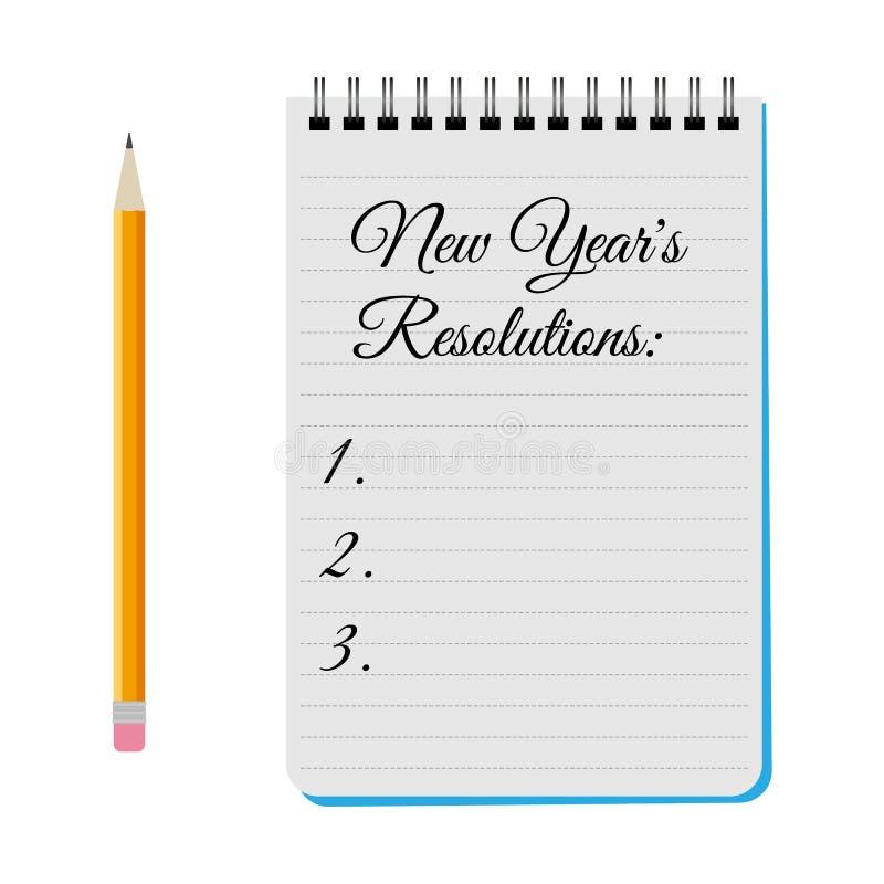 Bloco de notas com definições dos anos novos do título ilustração do vetor