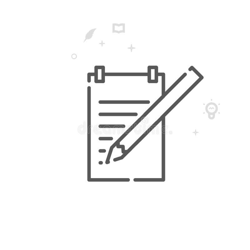 Bloco de notas com linha ícone do vetor do lápis, símbolo, pictograma, sinal Fundo geométrico abstrato claro Curso editável ilustração do vetor