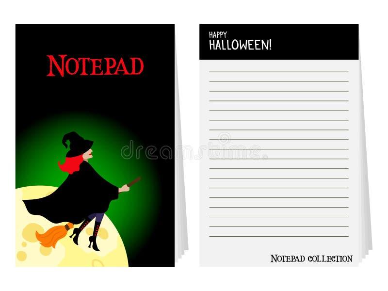 Bloco de notas de Dia das Bruxas com bruxa ilustração stock