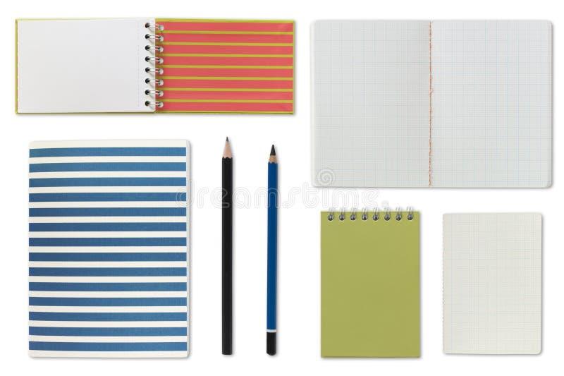 Bloco de notas do caderno e papel em branco foto de stock