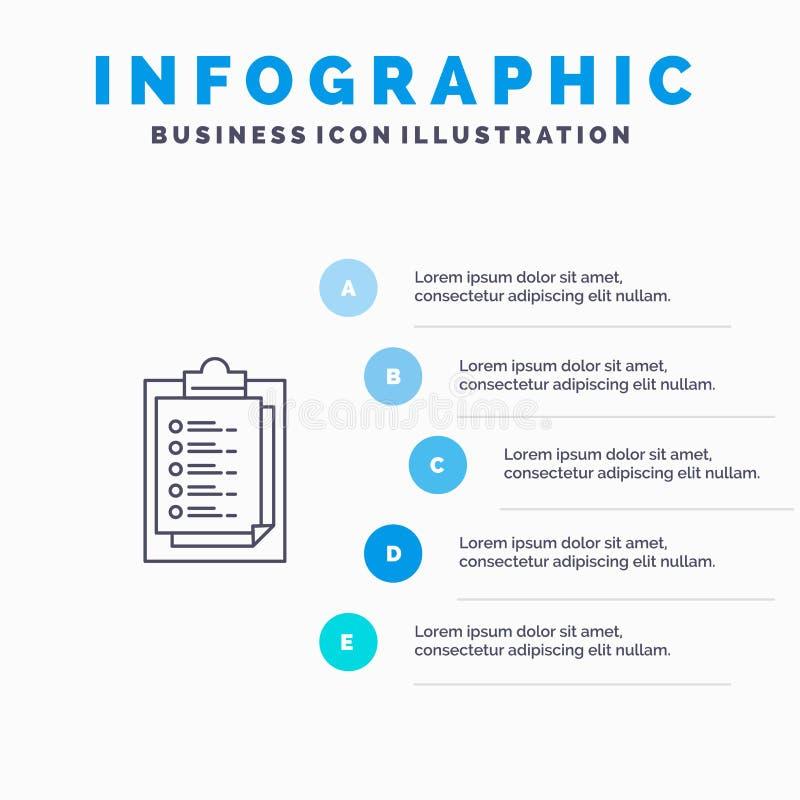 Bloco de notas, notas, resultado, linha ícone da apresentação com fundo do infographics da apresentação de 5 etapas ilustração do vetor