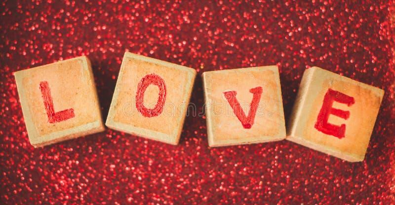 Bloco de palavra do amor imagem de stock