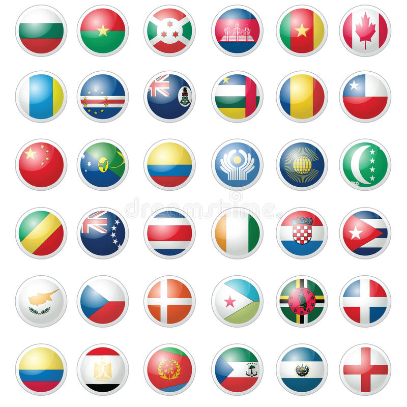 Bloco de quase 40 bandeiras do ícone sobre o branco imagens de stock royalty free
