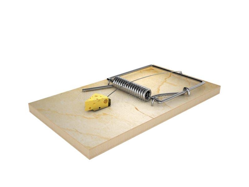 Bloco de queijo no mousetrap ilustração royalty free
