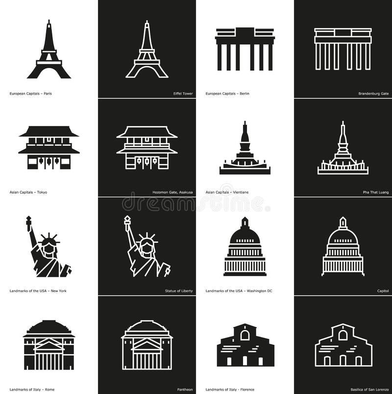 Bloco do ícone do marco ilustração royalty free
