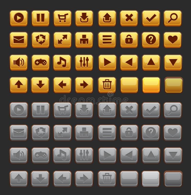 Bloco do bloco do GUI dos botões do jogo ilustração royalty free