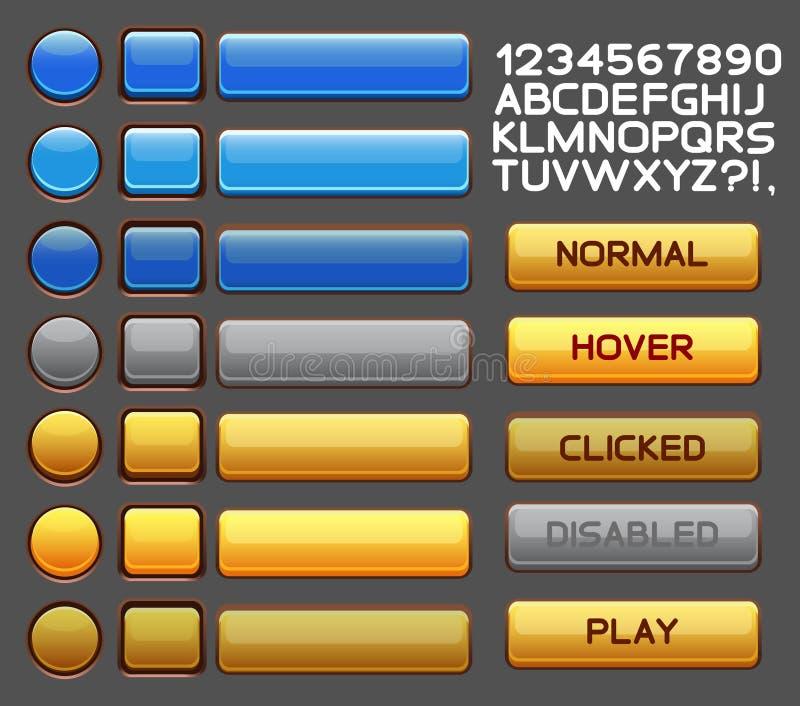 Bloco do bloco do GUI dos botões do jogo ilustração stock