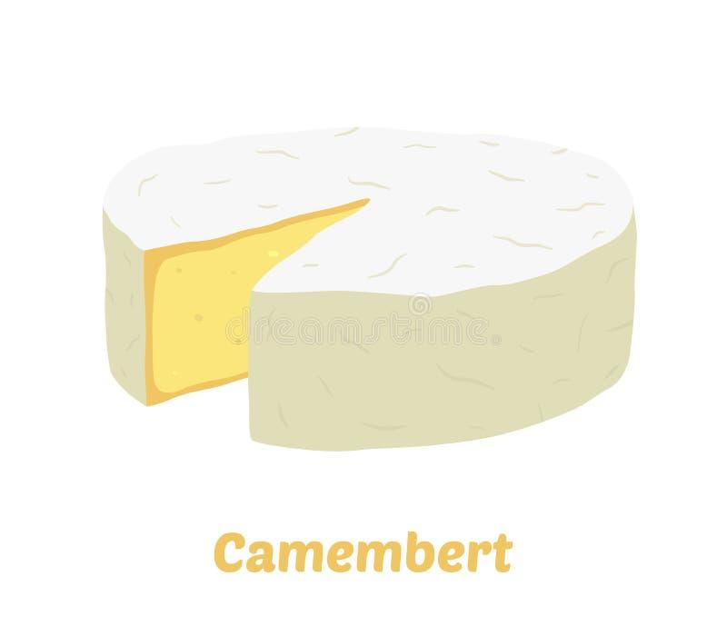 Bloco do queijo do camembert do vetor Fatia, pedaço Estilo liso dos desenhos animados ilustração royalty free