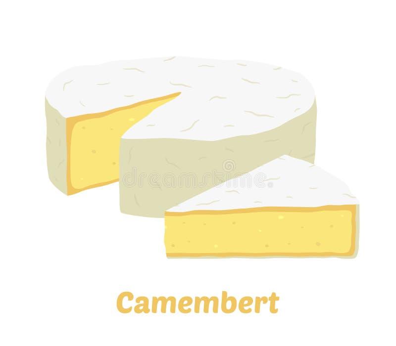 Bloco do queijo do camembert do vetor, parte do triângulo Fatia, pedaço Estilo liso dos desenhos animados ilustração royalty free